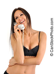 On The Phone - Young and beautiful woman talks on the phone