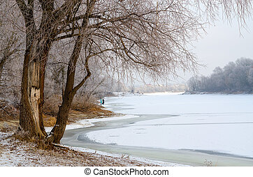 On the river bank in December