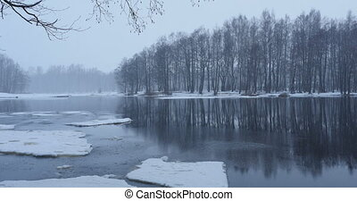 On the river bank winter landscape snowfall forest...