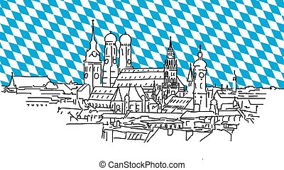 On the roofs of Munich, Vector Outline Sketch