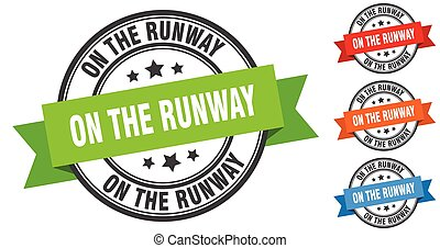 on the runway stamp. round band sign set. label