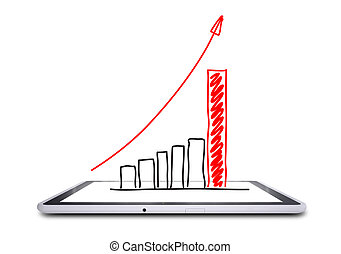On the screen of the tablet is a growth graph