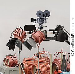 Vintage movie crane with movie camera, lights and assorted cinematic gear