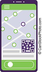 On the smartphone screen, an application template with a map of the city streets, qr code and an unlock button. Navigation shows one highlighted pin among many others. Vector illustration
