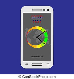 On the smartphone screen shows the test data transfer speed