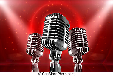 On the stage concept - Vintage silver Microphones with...