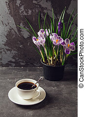 On the table is a Cup of coffee and a vase with flowers crocuses on the background of the loft wall