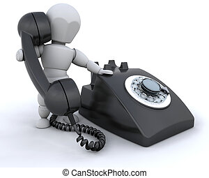 On the telephone - Someone talking on a retro styled...