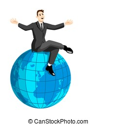 On Top Of The World - Stock image of a man sitting on a...