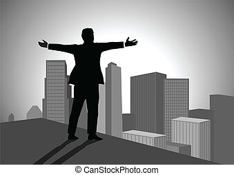 On Top Of The World - Silhouette illustration of a man...