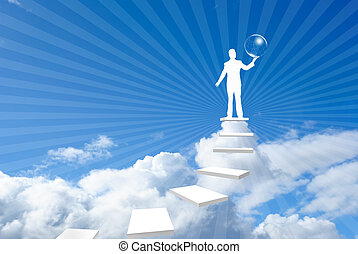 On top of the world in business - Standing in victory with a...