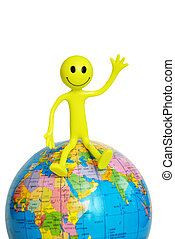 smilie sitting on the globe