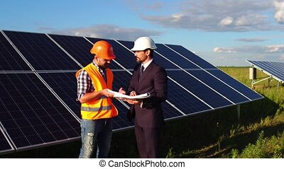 On video solar panels situated in the field. New generation...