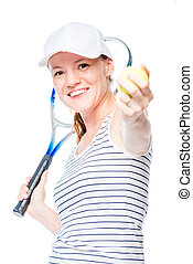 On white background shooting professional tennis player