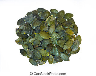 On white isolated background pumpkin seeds, healthy eating concept.