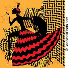 flamenco dancer - on yellow bacground is an abstract...