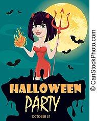 ona-przysmażają, diabeł, trójząb, halloween, jeden, invitation., płomień, another., partia, sexy, dziewczyna, ręka
