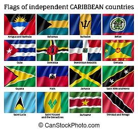 onafhankelijk, golvend, de caraïben, vlaggen, landen