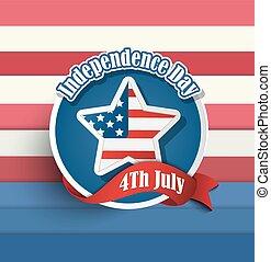 onafhankelijkheid dag, vierde, juli, amerikaan, badges.