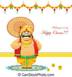Onam Background - illustration of King Mahabali in Onam...