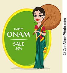 Onam celebration. Indian woman in traditional clothes...