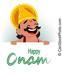Onam celebration. King Mahabali holding placard with...