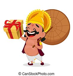 Onam celebration. King Mahabali holding umbrella and gift...