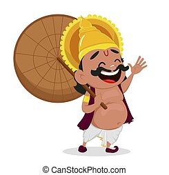 Onam celebration. King Mahabali holding umbrella, cheerful...