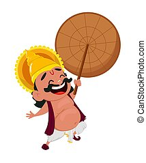 Onam celebration. King Mahabali - Onam celebration. Laughing...