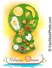 illustration of Onam feast on kathakali dancer shaped banana leaf