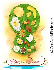 Onam feast on banana leaf - illustration of Onam feast on ...