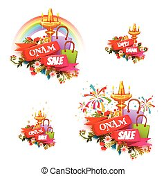 Onam holiday sale banner set with ribbon. Vector illustration