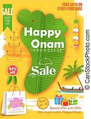 Onam Sadya sale background - illustration of King Mahabali's...