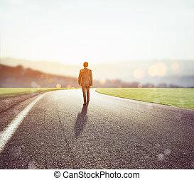 onbekend, avontuur, wandelingen, nieuw, straat, man