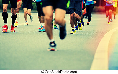 onbekend, benen, atleten, marathon