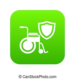 onbekwaamheid, bescherming, pictogram, groene