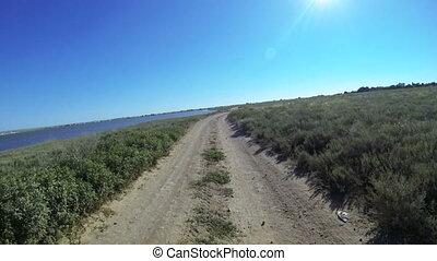 Onboard camera: Riding quad bike - Riding quad bike through...