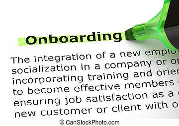 onboarding, kijelölt, noha, zöld, könyvjelző