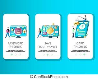 onboarding, phishing, ベクトル, テンプレート, app, モビール, スクリーン