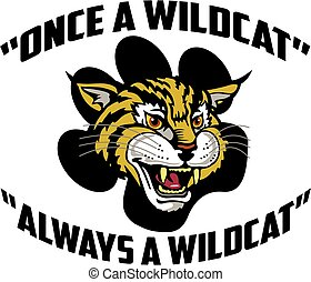 once a wildcat, always a wildcat team design with a mascot head inside a paw print