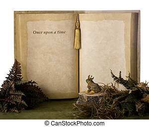 """A """"prince frog"""" looking on an oversized book that says, """"Once upon a time"""" with plenty of space for your text."""