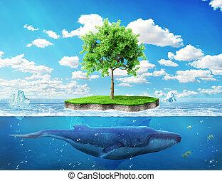 ?oncept, de, global, warming., isla, con, un, árbol verde,...