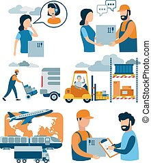 ?oncept for delivery service, e-commerce, online shopping, receiving package from courier to customer. Parcel delivery process. Vector flat illustration.