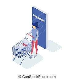 ?oncept of an online pharmacy. Woman buys medicine. Isometric vector illustration.