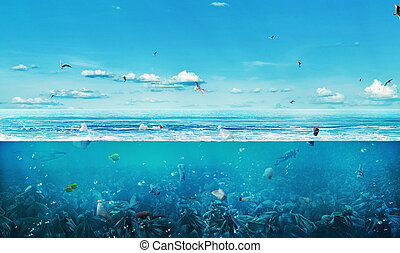 ?oncept of global pollution. The sea full of garbage on the...