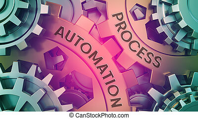 ?oncept Process Automation on the Gears. Gold and silver gear weel background illustration 3d illustration.