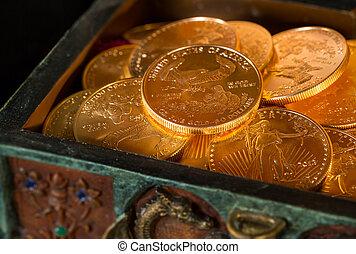 oncia, monete, collezione, oro, uno