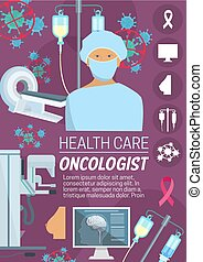 Oncologist surgeon, medical or radiation oncologist banner for health care design. Medical doctor poster with cancer cell, MRI scanner and radiation therapy pill or medication, mammography sign