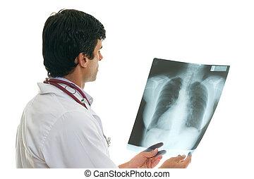 oncologist, z, skrzynia prześwietlają