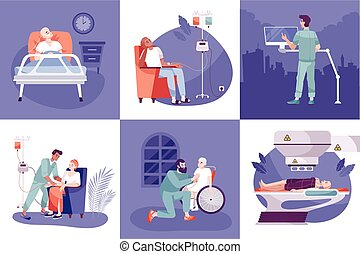 Oncology diagnostic tests cancer radiotherapy chemotherapy treatment nursing postoperative care concept 6 flat background compositions vector illustration